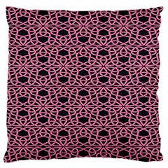 Triangle Knot Pink And Black Fabric Large Flano Cushion Case (two Sides)