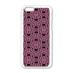 Triangle Knot Pink And Black Fabric Apple Iphone 6/6s White Enamel Case