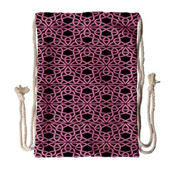 Triangle Knot Pink And Black Fabric Drawstring Bag (large)