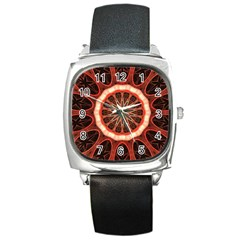 Circle Pattern Square Metal Watch