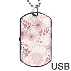 Leaves Pattern Dog Tag Usb Flash (one Side) by BangZart