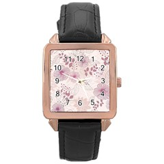 Leaves Pattern Rose Gold Leather Watch  by BangZart