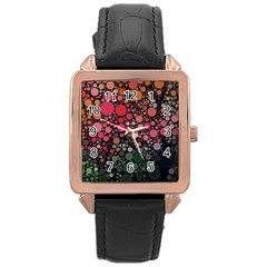 Circle Abstract Rose Gold Leather Watch
