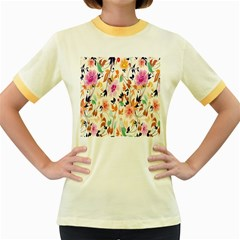 Vector Floral Art Women s Fitted Ringer T Shirts