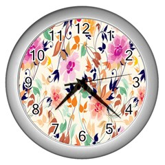 Vector Floral Art Wall Clocks (silver)  by BangZart
