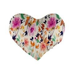 Vector Floral Art Standard 16  Premium Flano Heart Shape Cushions by BangZart