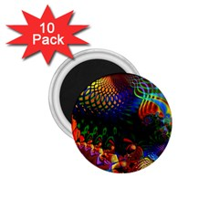 Colored Fractal 1 75  Magnets (10 Pack)