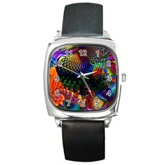 Colored Fractal Square Metal Watch