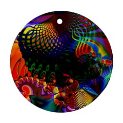 Colored Fractal Round Ornament (two Sides)