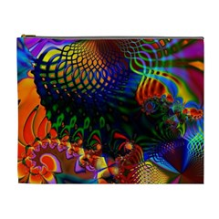Colored Fractal Cosmetic Bag (xl) by BangZart