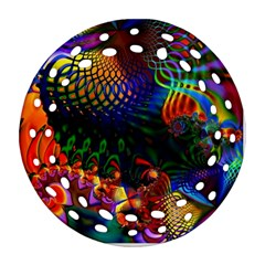 Colored Fractal Round Filigree Ornament (two Sides)