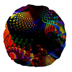 Colored Fractal Large 18  Premium Round Cushions by BangZart
