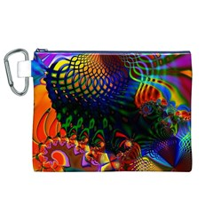 Colored Fractal Canvas Cosmetic Bag (xl) by BangZart