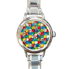 Snakes And Ladders Round Italian Charm Watch by BangZart