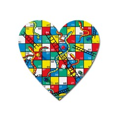 Snakes And Ladders Heart Magnet