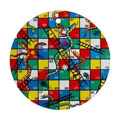 Snakes And Ladders Round Ornament (two Sides)