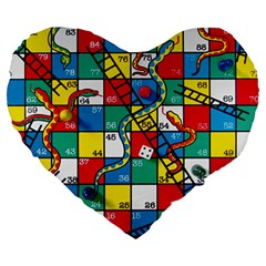 Snakes And Ladders Large 19  Premium Heart Shape Cushions by BangZart