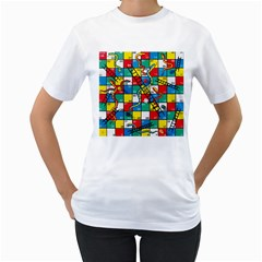 Snakes And Ladders Women s T Shirt (white)