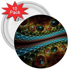 Fractal Snake Skin 3  Buttons (10 Pack)  by BangZart