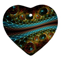 Fractal Snake Skin Heart Ornament (two Sides)