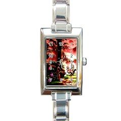 Fantasy Art Story Lodge Girl Rabbits Flowers Rectangle Italian Charm Watch