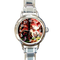 Fantasy Art Story Lodge Girl Rabbits Flowers Round Italian Charm Watch