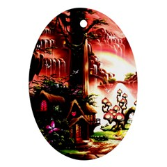 Fantasy Art Story Lodge Girl Rabbits Flowers Ornament (oval)