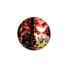 Fantasy Art Story Lodge Girl Rabbits Flowers Golf Ball Marker by BangZart