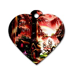 Fantasy Art Story Lodge Girl Rabbits Flowers Dog Tag Heart (one Side) by BangZart