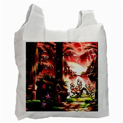 Fantasy Art Story Lodge Girl Rabbits Flowers Recycle Bag (one Side)