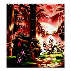 Fantasy Art Story Lodge Girl Rabbits Flowers Shower Curtain 66  X 72  (large)