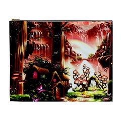 Fantasy Art Story Lodge Girl Rabbits Flowers Cosmetic Bag (xl)