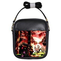 Fantasy Art Story Lodge Girl Rabbits Flowers Girls Sling Bags