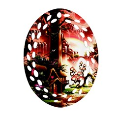 Fantasy Art Story Lodge Girl Rabbits Flowers Oval Filigree Ornament (two Sides)