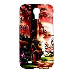 Fantasy Art Story Lodge Girl Rabbits Flowers Samsung Galaxy S4 I9500/i9505 Hardshell Case