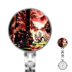 Fantasy Art Story Lodge Girl Rabbits Flowers Stainless Steel Nurses Watch