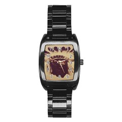 Indian Stainless Steel Barrel Watch by BangZart