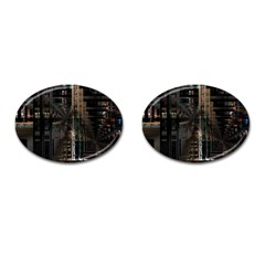 Blacktechnology Circuit Board Electronic Computer Cufflinks (oval)