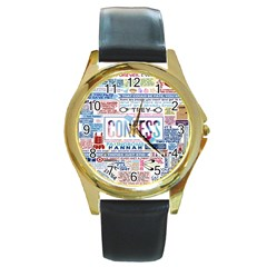 Book Collage Based On Confess Round Gold Metal Watch by BangZart