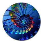 Top Peacock Feathers Round Mousepads Front