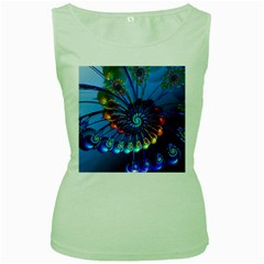 Top Peacock Feathers Women s Green Tank Top by BangZart