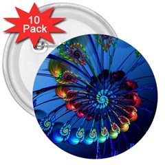 Top Peacock Feathers 3  Buttons (10 Pack)  by BangZart