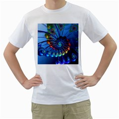 Top Peacock Feathers Men s T Shirt (white) (two Sided) by BangZart