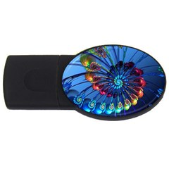Top Peacock Feathers Usb Flash Drive Oval (4 Gb) by BangZart