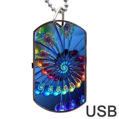Top Peacock Feathers Dog Tag Usb Flash (one Side)