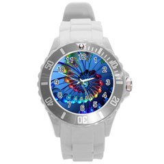 Top Peacock Feathers Round Plastic Sport Watch (l) by BangZart