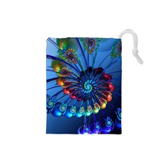 Top Peacock Feathers Drawstring Pouches (small)  by BangZart