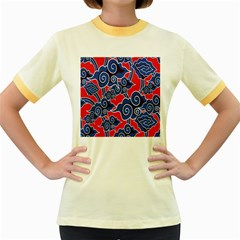 Batik Background Vector Women s Fitted Ringer T Shirts