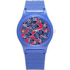 Batik Background Vector Round Plastic Sport Watch (s)
