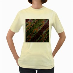 Batik Art Pattern  Women s Yellow T Shirt